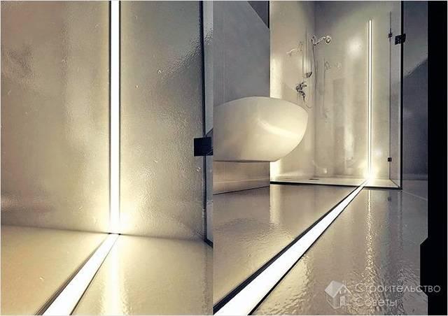 Подсветка в ванной комнате: монтаж светодиодного типа своими руками