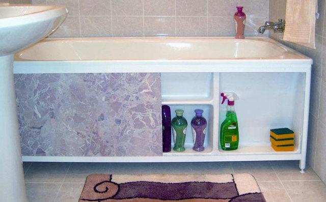 Как сделать функциональный экран под ванной: схемы с полками