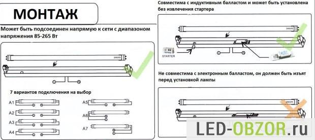 Светодиодные лампы Т8 в сравнении с люминесцентными