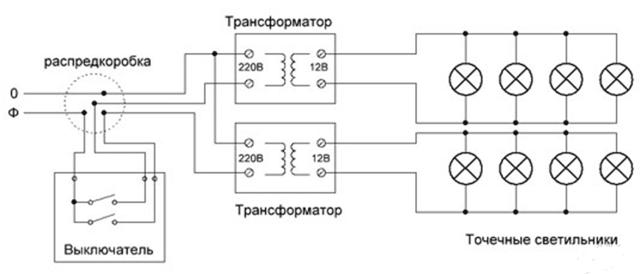 Трансформатор для галогенных ламп: назнаяение + виды и правила подключения