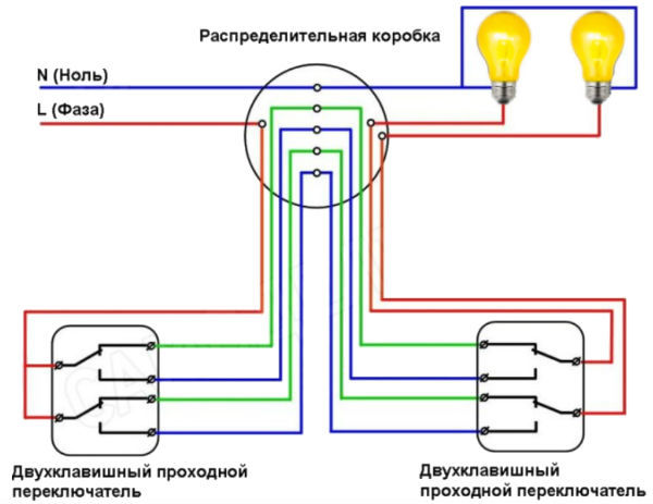 Схема подключения двухклавишного выключателя на две лампочки: монтаж